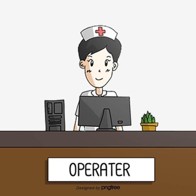 Cartoon Nurse Station Nurse Office, Working, Hospital ...