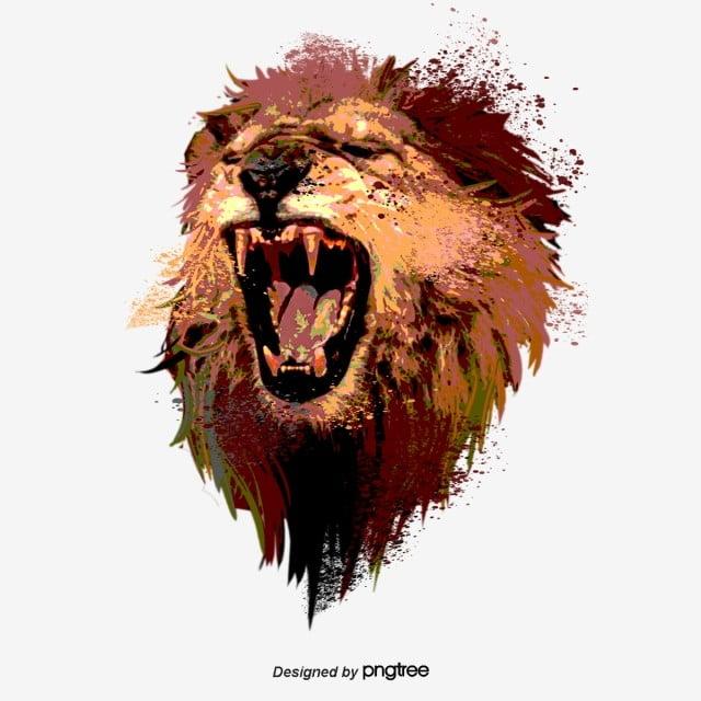 Hand Drawn Elements Of Roaring Lion Roar, Male Lion