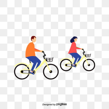 Cartoon couple riding bicycle illustration, Vehicle, Low Carbon, Cartoon PNG and PSD
