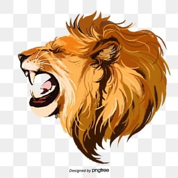 hand painted elements of lion roar beast, Male Lion, Ferocious, Roar PNG and PSD