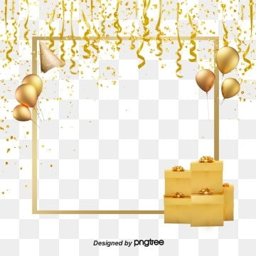 Luxurious golden birthday party decorative ribbon gold powder, Luxurious, Coloured Ribbon, Party PNG and PSD