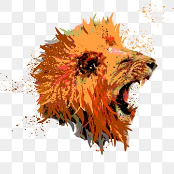 roaring splash lion roaring hand painted elements, Male Lion, Ferocious, Roar PNG and PSD