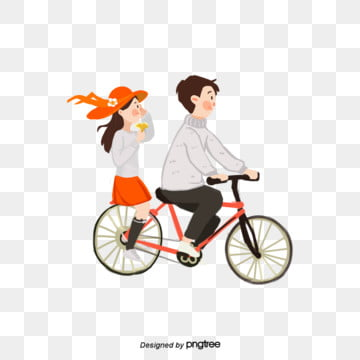 Romantic couples ride bicycles, Vehicle, Low Carbon, Couples PNG and PSD