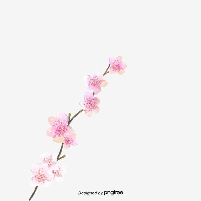 Flores Cor De Rosa Ramos Elementos Estilo Dos Desenhos Animados