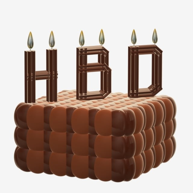 Brown Chocolate Birthday Cake With Candles 3D Doodle, Cake, Happy