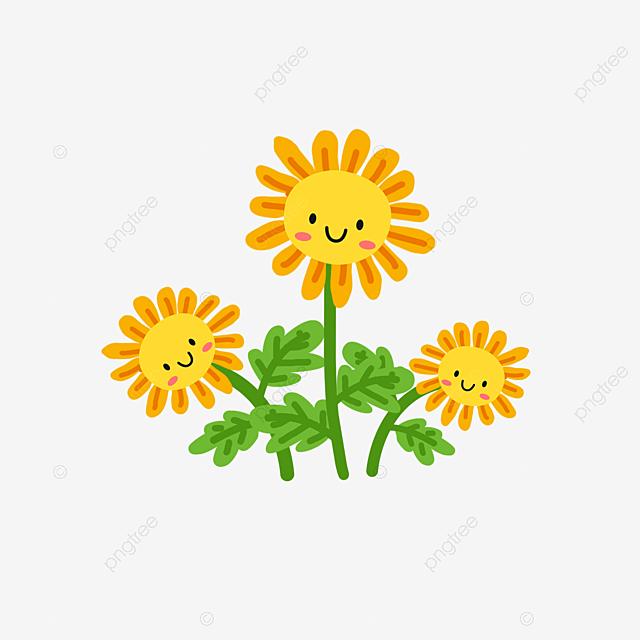 Yellow Hand Painted Cartoon Sunflower Clipart, Cartoon ...