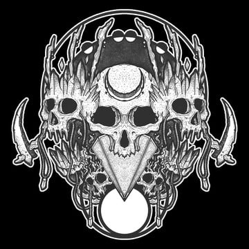 black and white hand drawn skull, Skull, Black And White, Skull Vector PNG and PSD