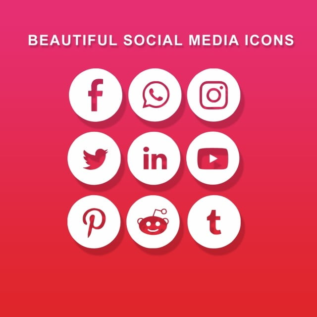 Beautiful Social Media Icons Pack PSD Icons, Psd Icons, Social Media Icons, Social Media Psd Icons PNG and PSD