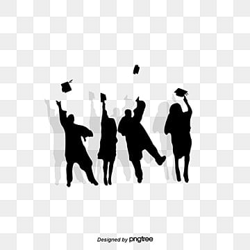 Creative elements of hand painted graduation cap Silhouette Illustration, Creative, University, College Student PNG and PSD