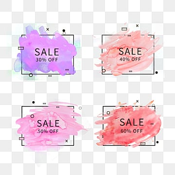 memphis style promotional label with color watercolor border, Coupon, Promotion, Geometric PNG and PSD