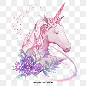 pngtree sparkling elements of pink unicorn handpainted flowers png image 970704