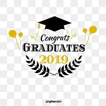 black gold graduation font element illustration, 2019 Graduation, Leaf, Congratulations On Graduation PNG and PSD