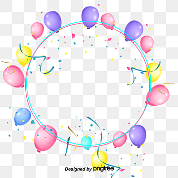 Coloured Balloon Ribbons Decorate Circular Borders, Element, Circular, Coloured Ribbon PNG and PSD