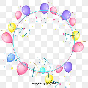 Coloured Balloon Ribbons Decorate Circular Borders, Element, Circular, Coloured Ribbon PNG and PSD