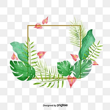 green hand painted watercolor summer plant border, Summertime, Summer Rim, Hand Painted PNG and PSD