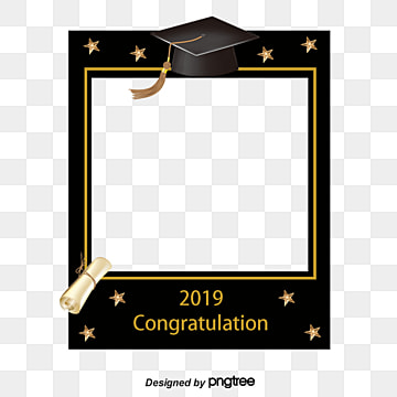 simple hand drawn graduation photo border, 2019 Graduation, Hand Painted, Graduation Cap PNG and PSD