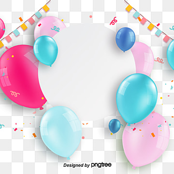 Stereo Birthday Balloon Border, Element, Celebrating, Coloured Ribbon PNG and PSD