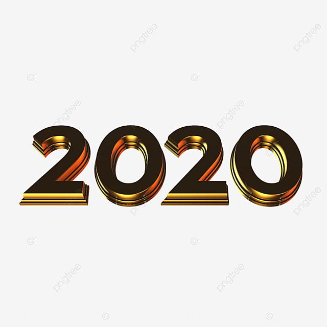 3d Ouro 2020 Efeito de texto PSD Para download gratuito