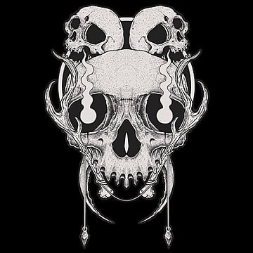 black and white hand drawn skull fire, Tshirtdesign, Clothingline, Clothing PNG and PSD
