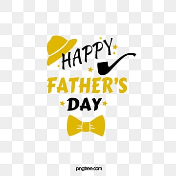 Black and Golden Fathers Day Art Character Element Illustration, Hat, Stars, Pipe PNG and PSD