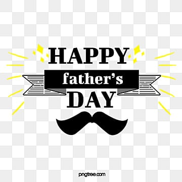 Black and Yellow Fathers Day Art Character Element Illustration, Stars, Banner, Fathers Day PNG and PSD