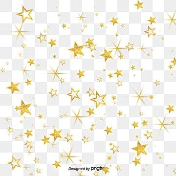 золотые звезды ночью, золотой клипарт, ночной вид, Золотая Звезда PNG и PSD