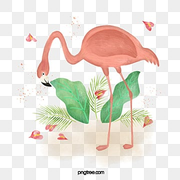 pink watercolor flamingo illustration elements, Cartoon, Summer, On Vacation PNG and PSD