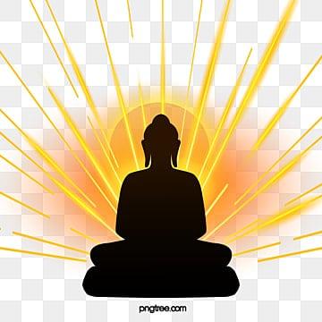 silhouette of buddha sitting in golden light, Buddhas Birthday, Buddha, Body Image PNG and PSD