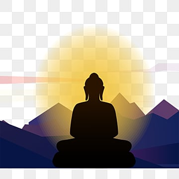 silhouette of buddha sitting in golden light, Buddha, Body Image, Silhouette PNG and PSD