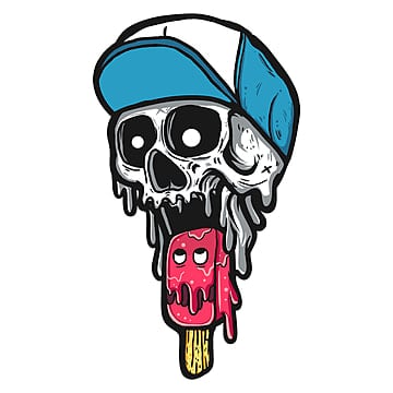 skull eat ice cream, Psd File, Psd, Cartoon PNG and PSD