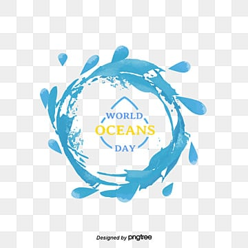 watercolor elements of water drops on world ocean day, World Ocean Day, Around, Circular PNG and PSD