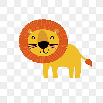 yellow cute cartoon lion, Animal, Lovely, Forest PNG and PSD