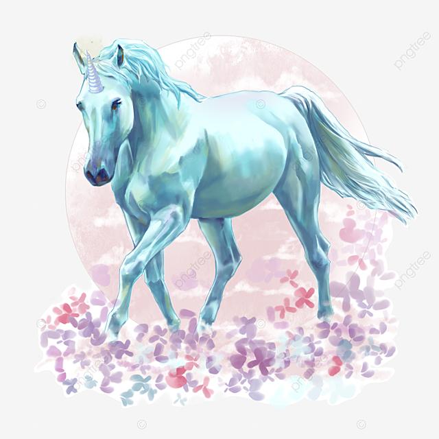 blue hand paint licorne floral element l u00e9gende peindre