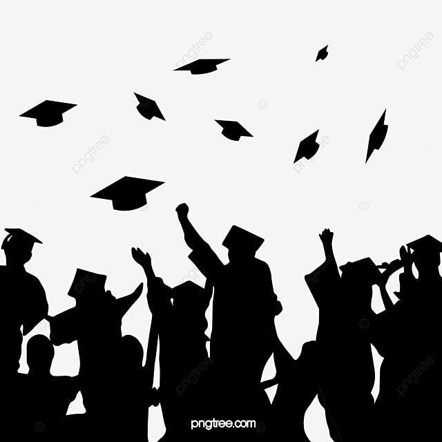 Graduates Throw Black Silhouettes Of Bachelors Hats In A