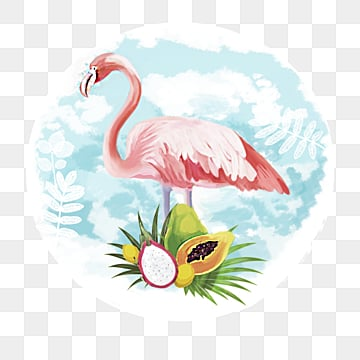 blue sky and white cloud fruit flamingo hand painted elements, Leaf, Summertime, Papaya PNG and PSD