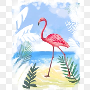 blue sky  white cloud hand plant  sea flamingo elements, Leaf, Summertime, Sea PNG and PSD
