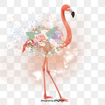 bright hand painted flamingo flower elements, Leaf, Summertime, Hand Painted PNG and PSD
