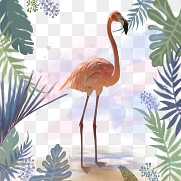 Dream Handpainted Flamingo Forest Elements, Leaf, Summertime, Hand Painted PNG and PSD