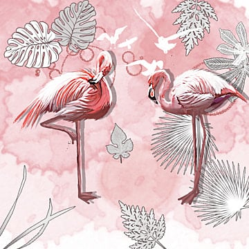 Flamingo Handpainted Plant Elements, Instagram, Leaf, Summertime PNG and PSD