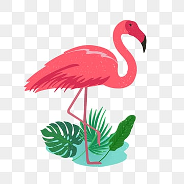 flamingo pink hand painted cartoon illustration, Cartoon, Summer, On Vacation PNG and PSD
