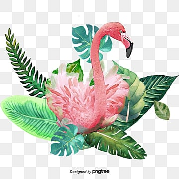 Green Plant Leaves Handpainted Flamingo Elements, Leaf, Summertime, Hand Painted PNG and PSD