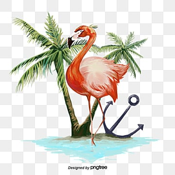 Hand painted Flamingo Coconut Tree Elements, Leaf, Summertime, Hand Painted PNG and PSD