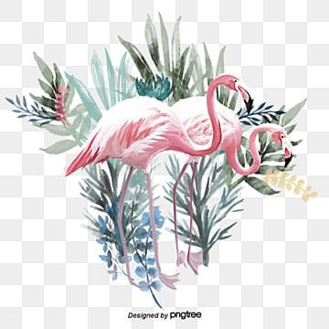 Hand painted Flamingo Elements with Green Plants, Leaf, Summertime, Hand Painted PNG and PSD