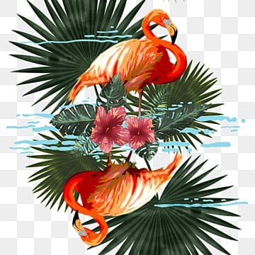 Hand painted Flamingo Floral Elements, Mist, Inverted Reflection In Water, Leaf PNG and PSD