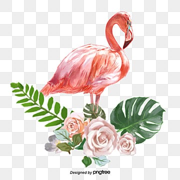 hand painted flamingo rose green leaf elements, Leaf, Summertime, Woods PNG and PSD