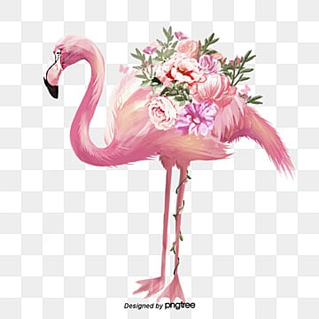 Hand painted Flower Flamingo Elements, Leaf, Summertime, Hand Painted PNG and PSD