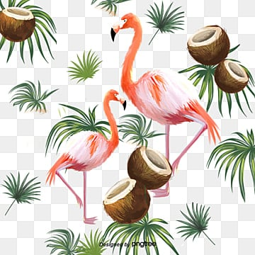 Hand painted leaf coconut Flamingo element, Leaf, Summertime, Hand Painted PNG and PSD