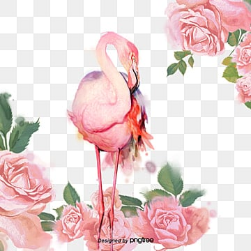 Hand painted Rose Plant Flamingo Elements, Leaf, Summertime, Delicate PNG and PSD