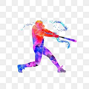 brilliant silhouettes of creative baseball players, Multicolored, Sports, Bodybuilding PNG and PSD