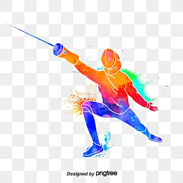 Colourful silhouettes of creative fencing, Multicolored, Character, Sports PNG and PSD